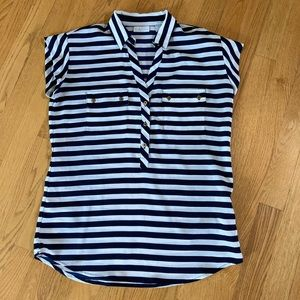 XS New York and company blue and white shirt